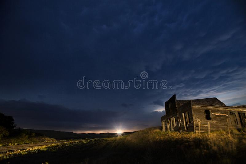 Storm Clouds Canada. Rural countryside Night Shot stock photo