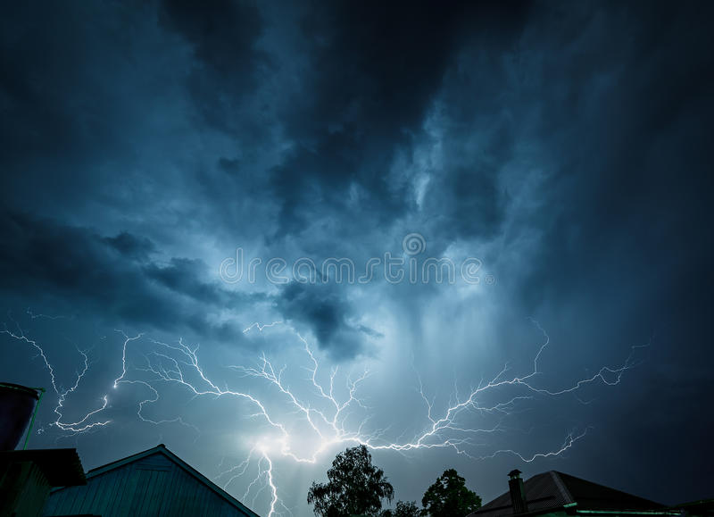 Download Storm Clouds Are Illuminated From Within Flash Of Lightning. Stock Image - Image of clouds, nature: 45677171
