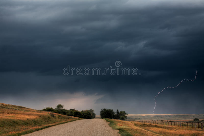 Storm clouds and lightning stock image