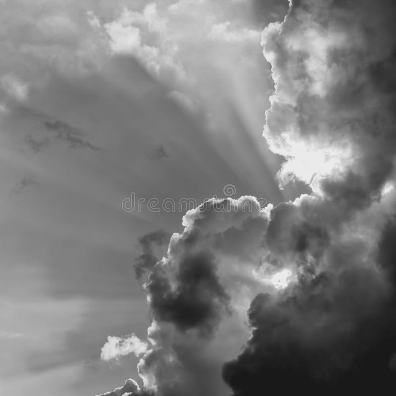 Storm clouds mono stock image