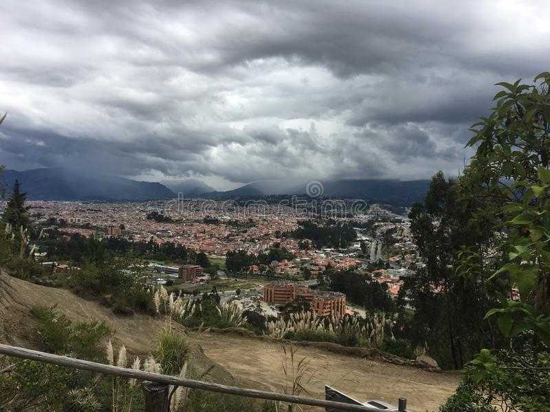 Storm Clouds Over the Andes Mountains, Cuenca Ecuador stock images