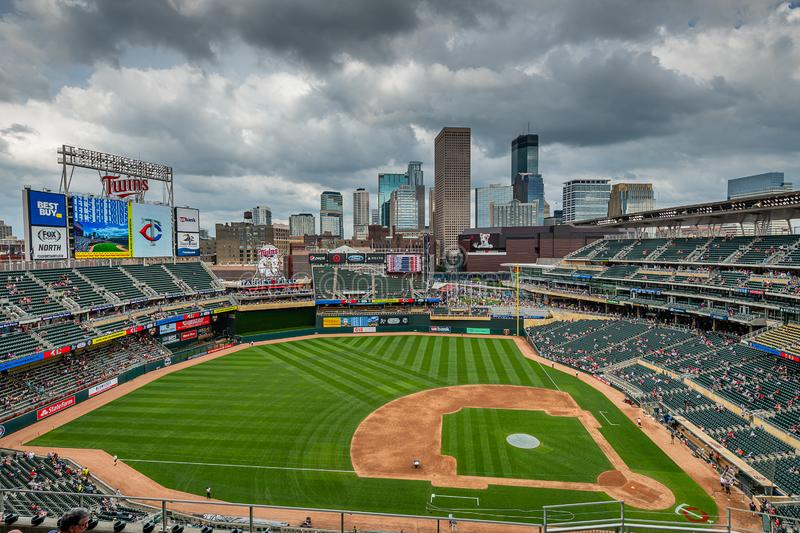 Storm clouds over downtown Minneapolis and Target Field stock photos