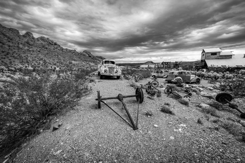 Storm clouds over the ghost town of Nelson. A rainstorm passes over the Nelson Ghost Town, which is famous as being a former silver mine. Today it is a tourist stock photo