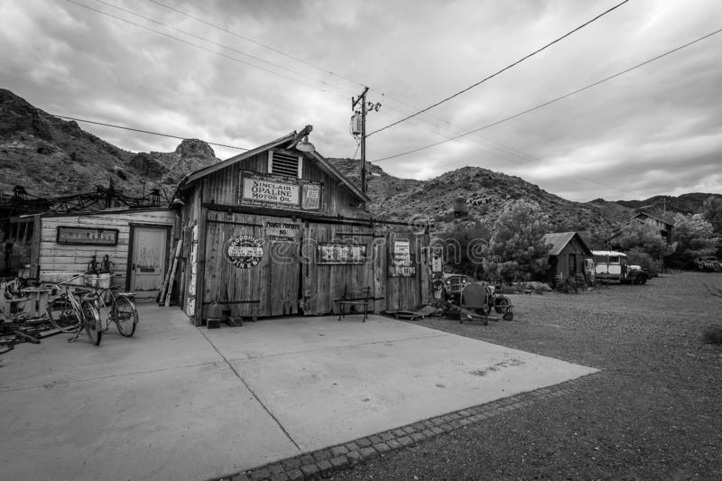 Storm clouds over the ghost town of Nelson. A rainstorm passes over the Nelson Ghost Town, which is famous as being a former silver mine. Today it is a tourist stock images