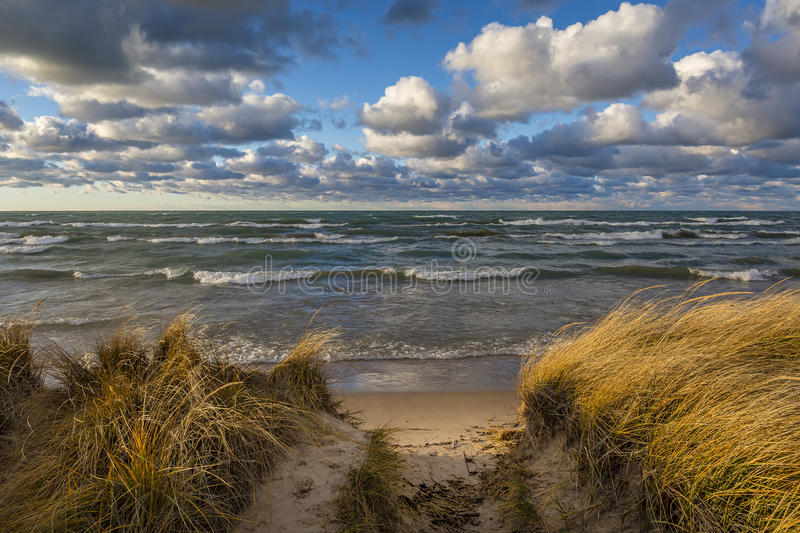 Storm Clouds Over Lake Huron - Ontario, Canada. Storm Clouds Over Lake Huron in November - Grand Bend, Ontario, Canada stock images