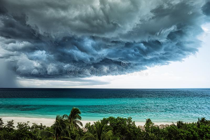 Storm clouds over the sea. Selective focus royalty free stock photo