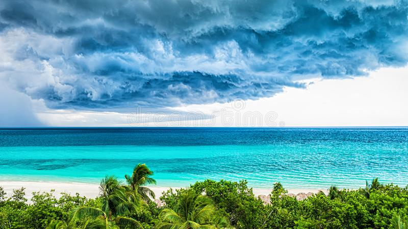 Storm clouds over the sea. Selective focus stock image