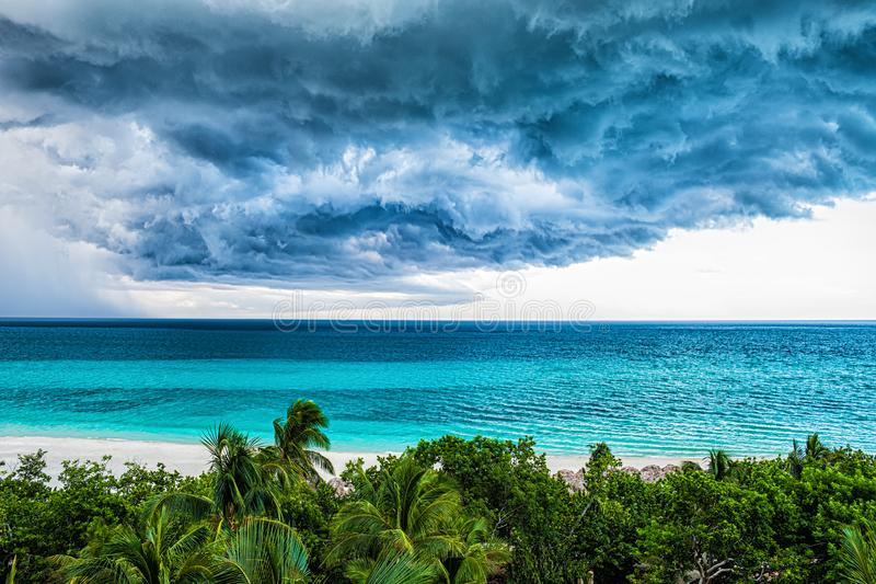 Storm clouds over the sea. Selective focus royalty free stock image