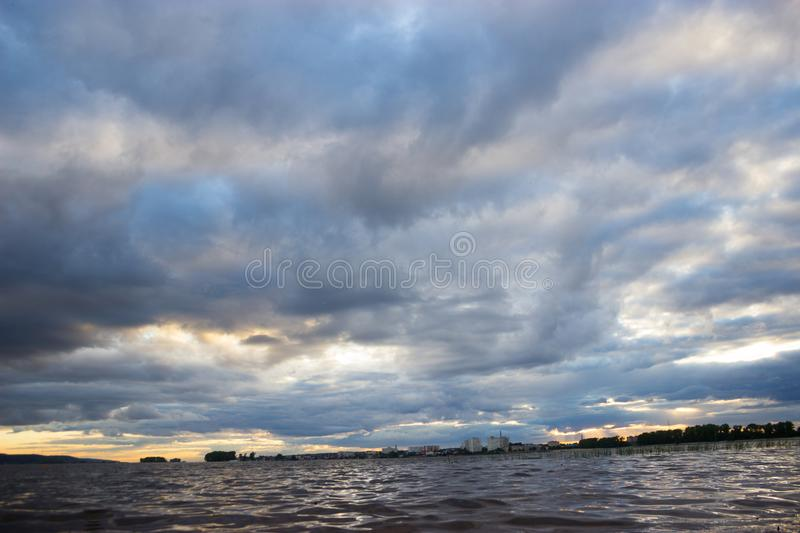 Storm clouds over sea royalty free stock photos