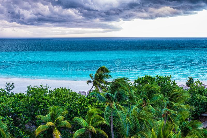 Storm clouds over the sea. Selective focus royalty free stock photography