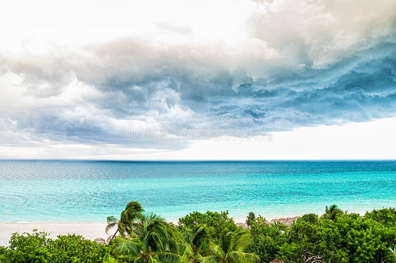 Storm clouds over the sea. Selective focus stock photography