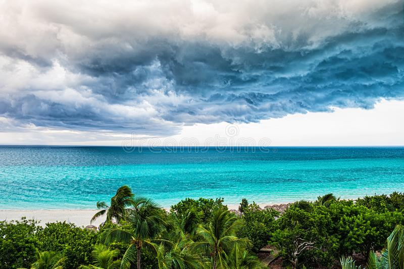 Storm clouds over the sea. Selective focus royalty free stock images