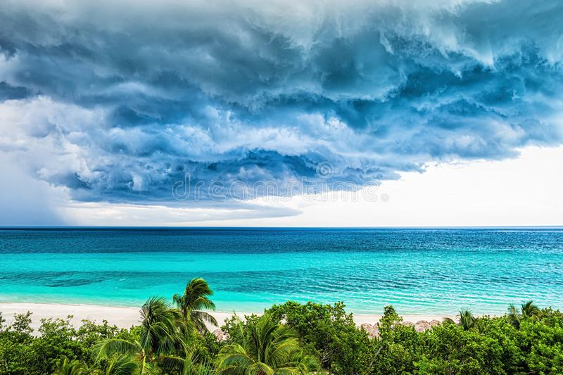 Storm clouds over the sea. Tropical weather stock images