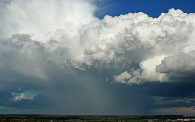 Storm clouds rain. Summer landscape with storm clouds / cloudburst, rain / shower and horizon / skyline taken in Vladimir (Russia royalty free stock photos