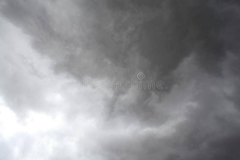 Storm clouds, rain and high winds. Unsettled weather front moving in stock photo