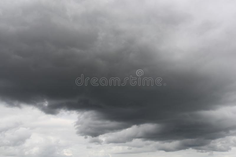 Storm clouds, rain and high winds. Unsettled weather front moving in stock image