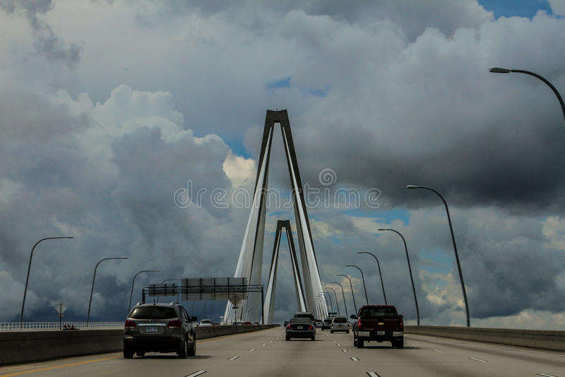 Storm Clouds on the Ravenel Bridge, Charleston, SC. royalty free stock photo