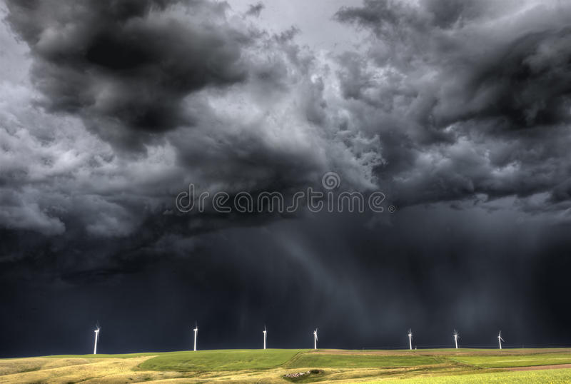 Storm Clouds Saskatchewan. Wind farm Swift Current Canada stock image