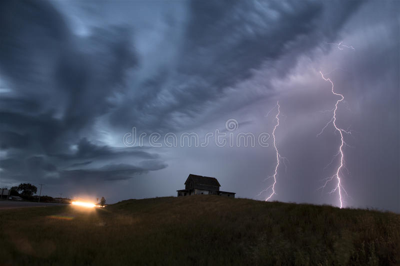 Storm Clouds Saskatchewan Lightning stock images
