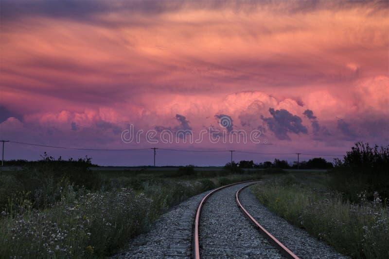 Storm Clouds Saskatchewan sunset stock photo