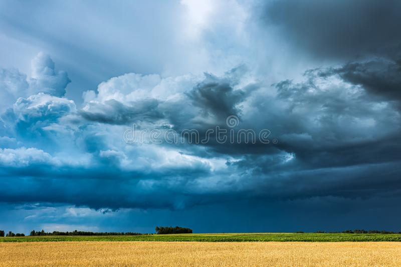 Storm clouds with shelf cloud and intense rain royalty free stock photos