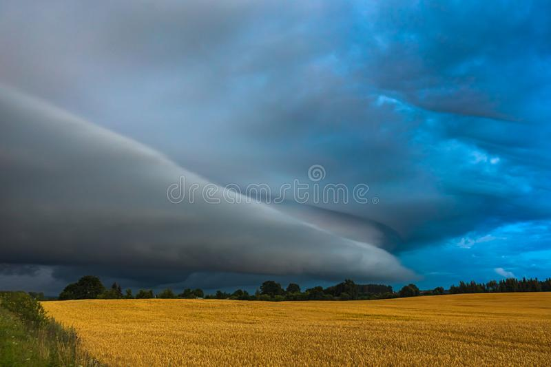 Storm clouds with shelf cloud and intense rain royalty free stock image