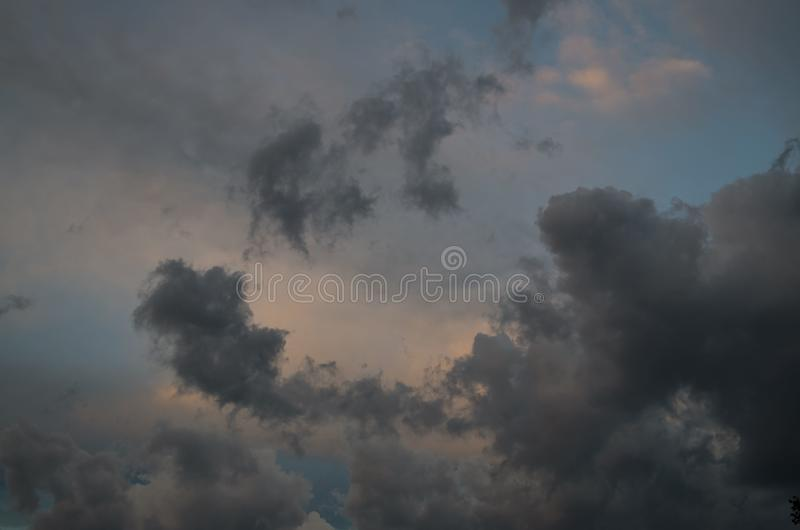 Storm clouds. The sky a background. Storm`s coming royalty free stock photography