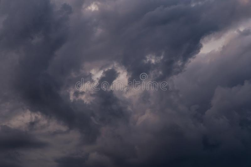 Storm clouds texture closeup, dark sky background texture. Epic Storm sky, dark clouds texture, storm front, thunderstorm royalty free stock images
