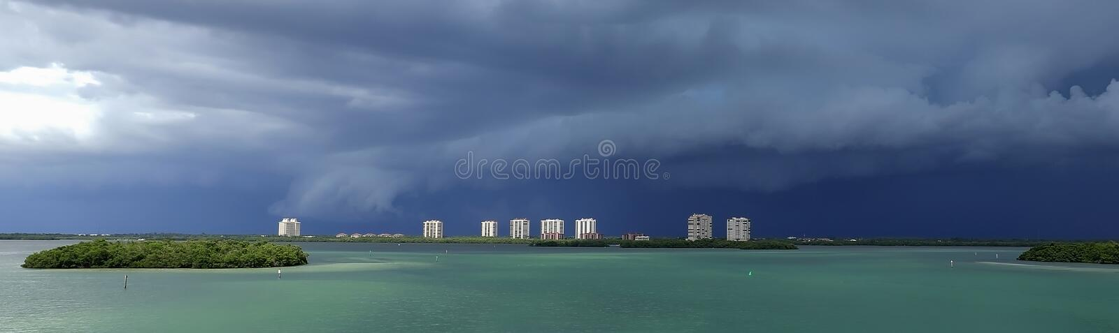 Storm clouds on the West Coast of Florida stock images
