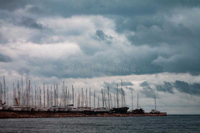 Storm on the coast in Greece stock photography