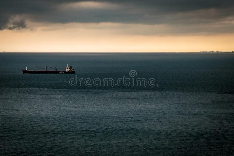 Storm is coming in the gulf of Trieste. Storm approaching the sea in the gulf of Trieste stock images