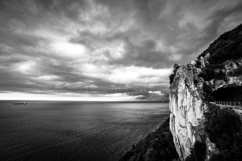 Storm is coming in the gulf of Trieste. Storm approaching the sea in the gulf of Trieste stock photography