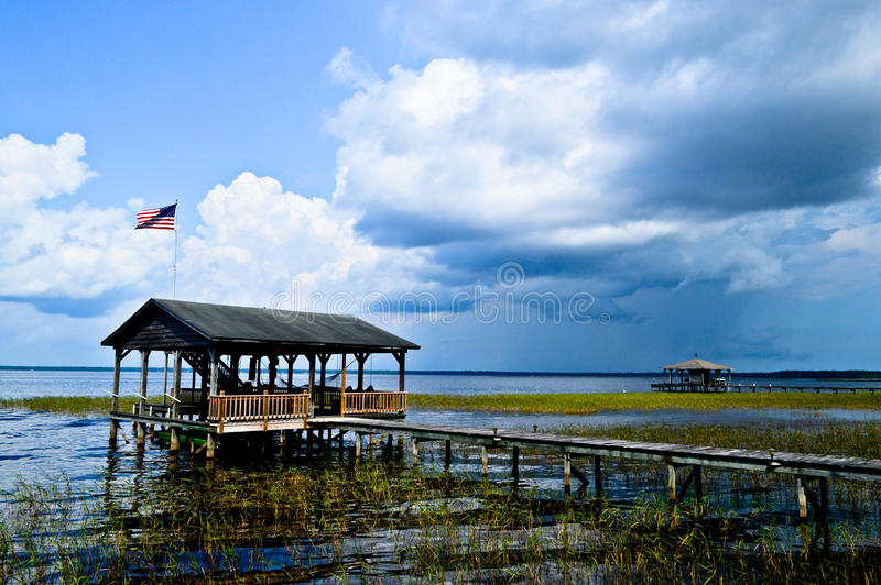 Storm coming in. Over Lake Waccamaw stock photos