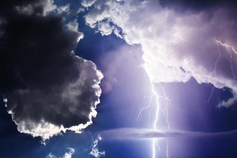 Storm. Dark ominous clouds. Thunderstorm with lightning stock photography