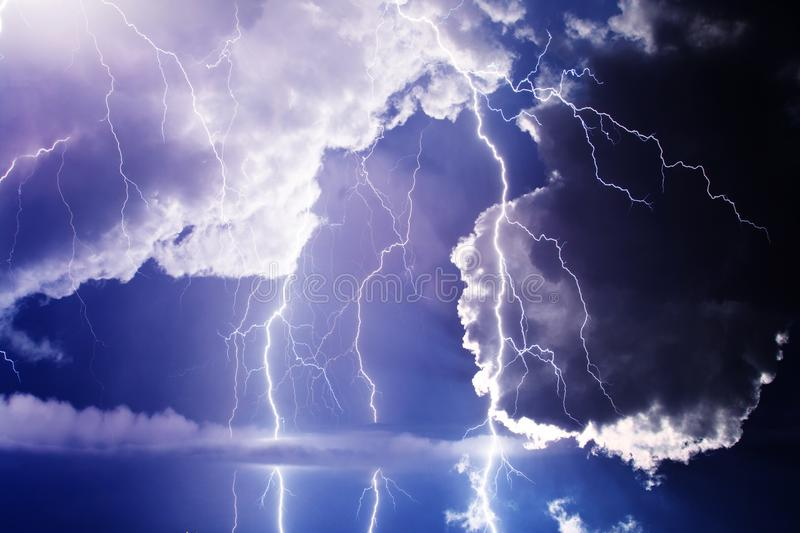 Storm. Dark ominous clouds. Thunderstorm with lightning royalty free stock photos