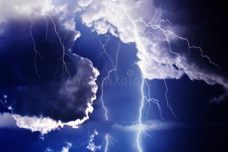 Storm. Dark ominous clouds. Thunderstorm with lightning stock photos