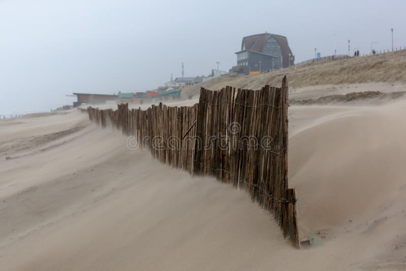 Storm day at the strand of Bloemendaal aan Zee (Nederland) stock fotografie