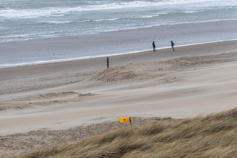Storm day at the strand of Bloemendaal aan Zee (Nederland) stock foto's