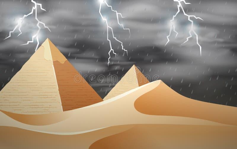 Storm at the desert scene stock illustration