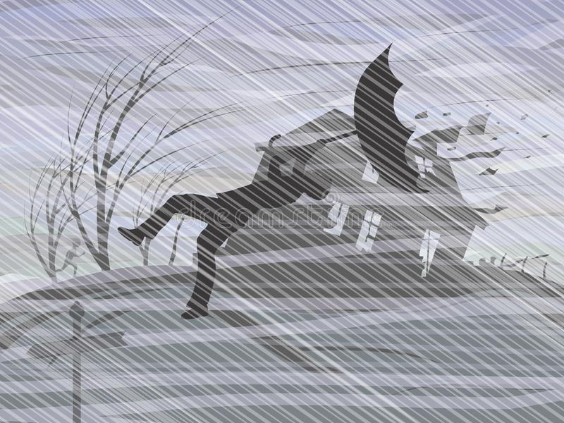 A storm and a downpour. Vector format