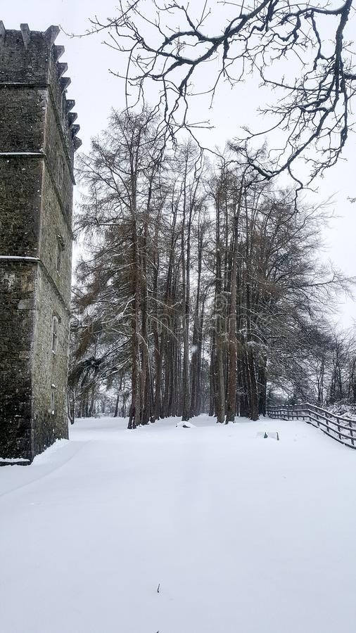 03/03/2018. Storm Emma in Ireland. County Cork. Kanturk. Snow in the Kantuk Castle park royalty free stock photos