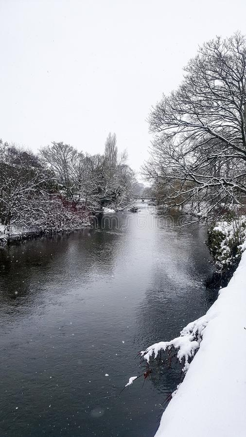 03/03/2018 Storm Emma in Ireland. Glimpse of River Dalua in the town of Kanturk, County Cork stock photos