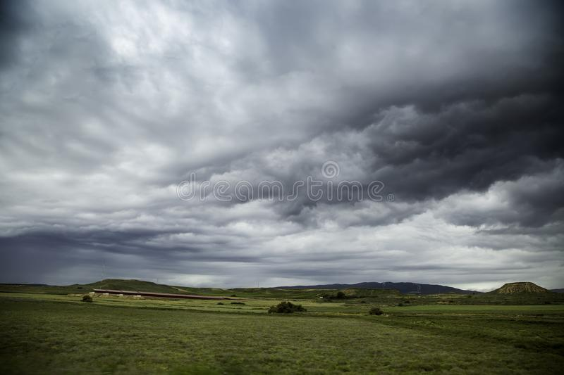 Storm in the field. Detail of rain clouds royalty free stock images