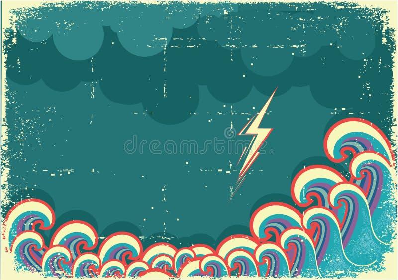 Storm i hav med waves vektor illustrationer