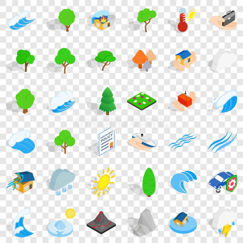 Storm icons set, isometric style royalty free illustration