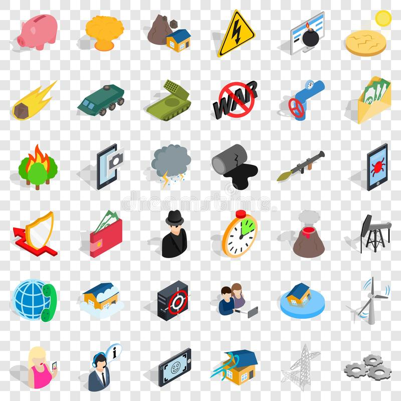 Storm icons set, isometric style stock illustration