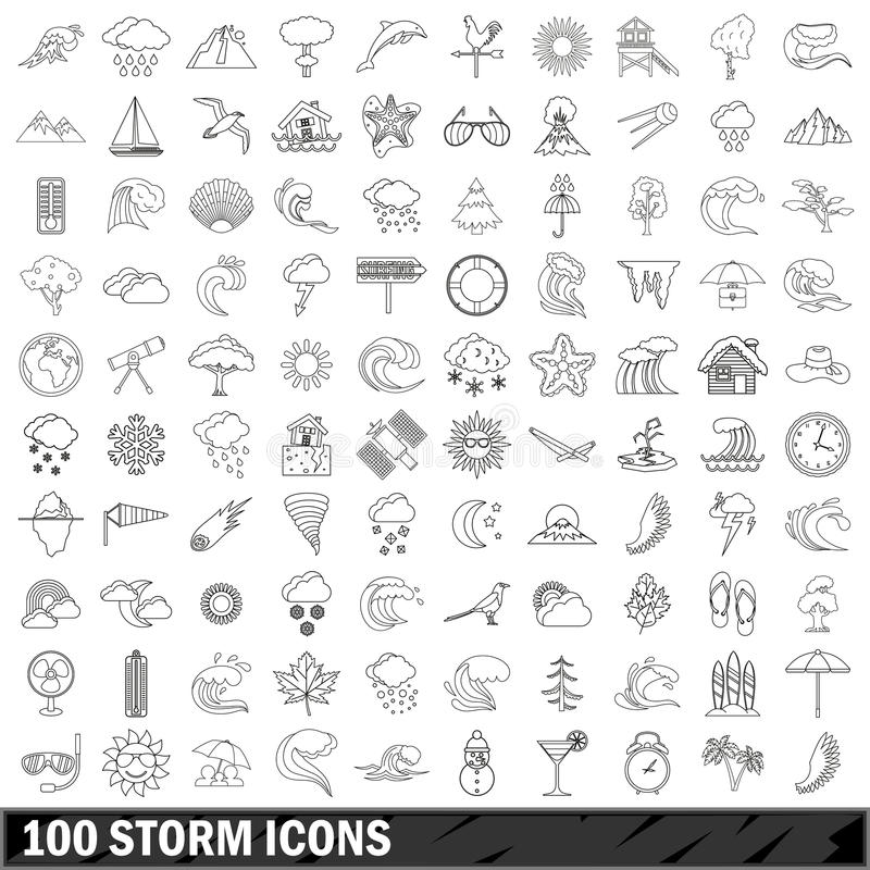 100 storm icons set, outline style royalty free illustration