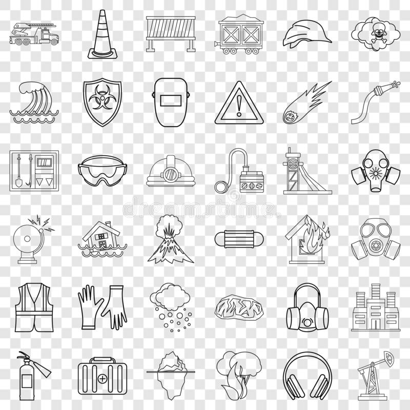 Storm icons set, outline style stock illustration
