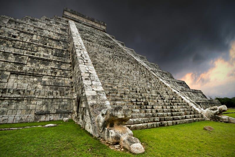 Storm at Kukulkan pyramid stock images
