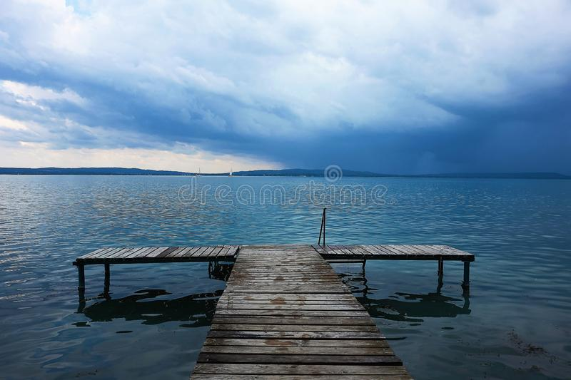Before a storm on Lake Balthon, Hungary royalty free stock photo